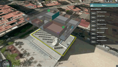 Figure 2: 3D graphical and data relation view of Patraix Building's 4th floor.