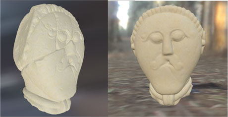 Figure 1: Celtic druid head (300 BC, National Museum in Prague) precise BTF plaener model (left) and the reconstructed head using the same BTF model but another environmental lighting (right.)