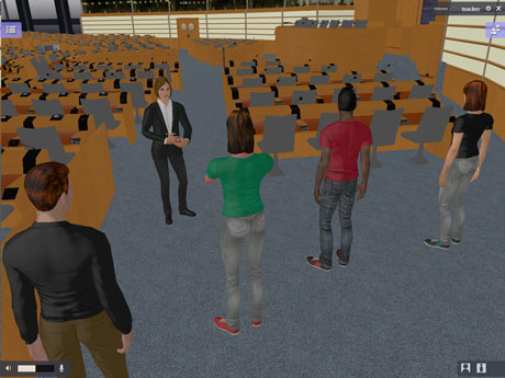 Figure 1: A fully autonomous agent acting as tour guide for a group of students being represented by avatars.