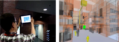 Figure 1: Mobile user browsing the air conditioning problem in AR view (left). BIM with malfunctioning devices highlighted (right).