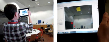Figure 2: Mobile user finding warnings and alarms in a room (left). Alerts highlighted in mobile AR view (right).
