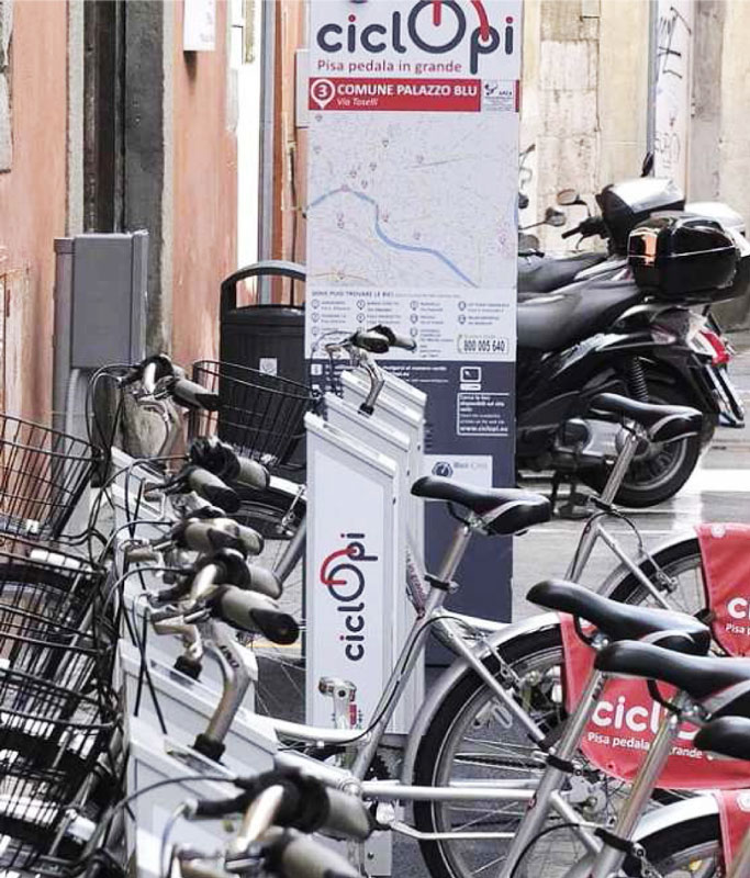 A CicloPi Bike Station in Pisa.