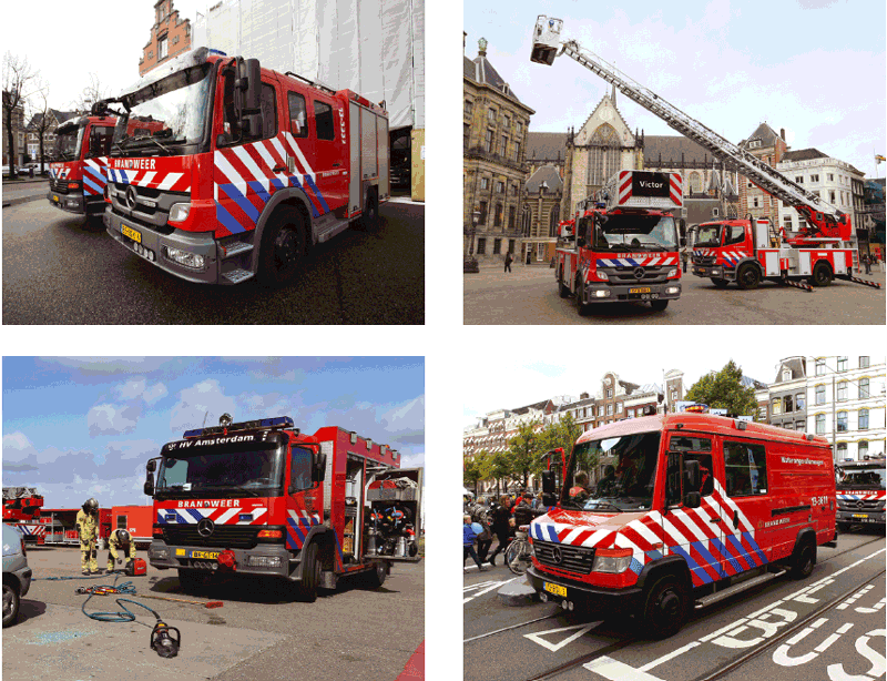 Figure 1: Overview of different types of firefighter vehicles:  fire apparatus (top left), aerial apparatus (top right), rescue apparatus (bottom left) and marine rescue units (bottom right). Photos: Jeffrey Koper.