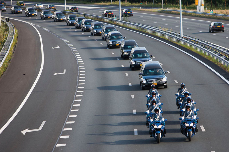 Convoy of hearses with MH-17 victims on the Dutch highway. Source: Ministry of Defence, The Netherlands.