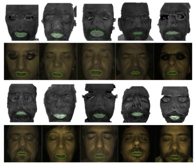 Figure 4: Lip contours segmented on concentration maps, and superimposed on the corresponding colour images.
