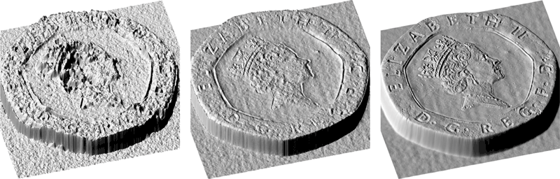 Figure 2: 3D reconstruction of a coin using conventional stereo (left), multi-view stereo obtained with our multi-line scan camera (middle), and combination of multi-view and photometric stereo also obtained with the multi-line scan camera (right).