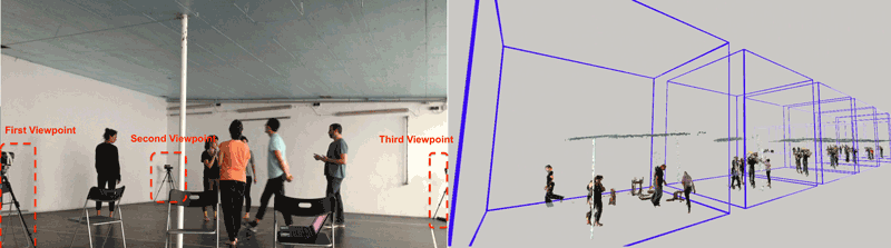 Figure 1: Example of our capture setup (left), and timeline visualisation of a recorded improvisation session.