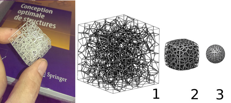 Figure 2: Selective Laser Sintering (SLS) 3D printing technology offers the possibility of creating structured materials with fine-scale geometric details. Optimal transform simulates the deformation of a 'foldable' cube into a sphere while preserving the volume at each step of the deformation.