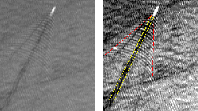Figure 4: Turbulent wake (yellow lines) and boundaries of the ship wake (red lines). Picture taken from [L3].