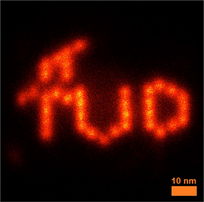 Figure 1: Data fusion image from 456 individual super-resolution reconstruction of a TU Delft logo. The logo is constructed with DNA-Origami and images by PAINT imaging. The final image combines about one million localisations resulting in a computed resolution [1] of 4.0 nm. That is wavelength/140 resolution with the hardware of a conventional light microscope.