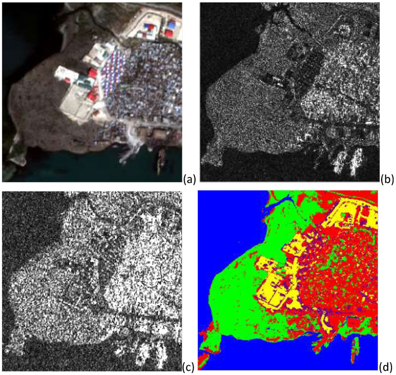 Figure 1: Port-au-prince, Haiti, example of multi-resolution and multi-sensor fusion of remote sensing imagery: (a) Pléiades optical image at 0.5m resolution (Pléiades, © CNES distribution Airbus DS, 2011); (b) COSMO-SkyMed radar image at 1m pixel spacing (© ASI, 2011); (c) RADARSAT-2 radar image at 1.56 m pixel spacing (© CSA, 2011); and (d) multi-sensor and multi-resolution land cover classification result amongst the urban (red), water (blue), vegetation (green), bare soil (yellow), and containers (pink) classes.
