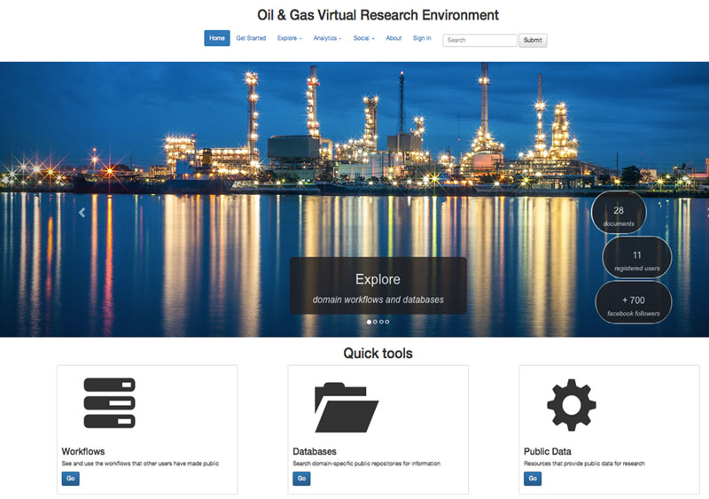 Figure 2: Home page of the oil and gas VRE.