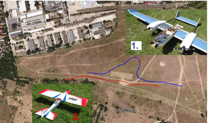 Figure 2: Aircraft photos and trajectories plotted over the airfield.