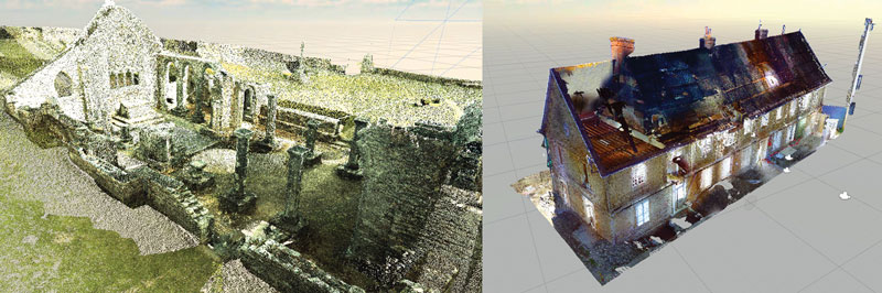 "Figure 1: Point clouds of the chapel of Languidou and the ""jeu de paume"" court."