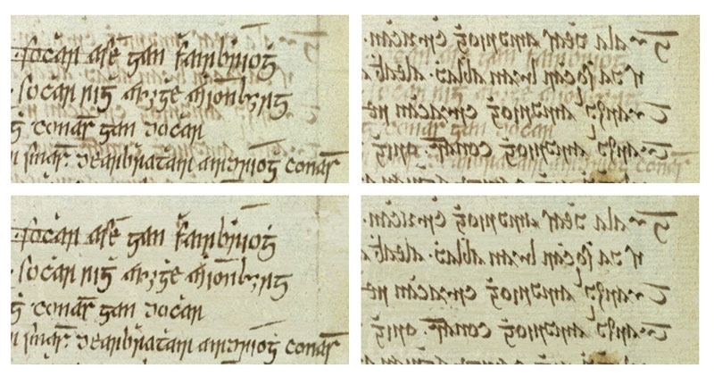 Figure 1: A visual comparison of an original ancient manuscript effected by bleed-through degradation and its restored version using our method. The first row shows the degraded recto and verso pair, and the restored images are presented in the second row.