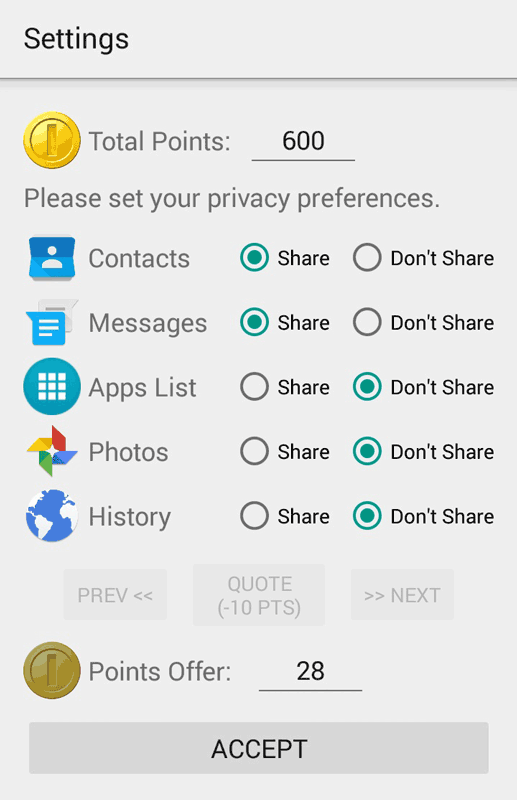Figure 1: What if we could negotiate our app permissions?