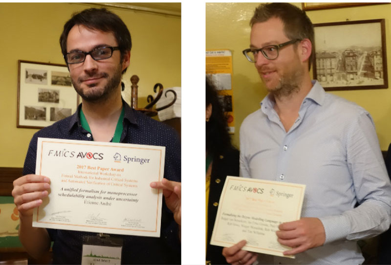 Best paper award winners Etienne André (left) and Tim Willemse
