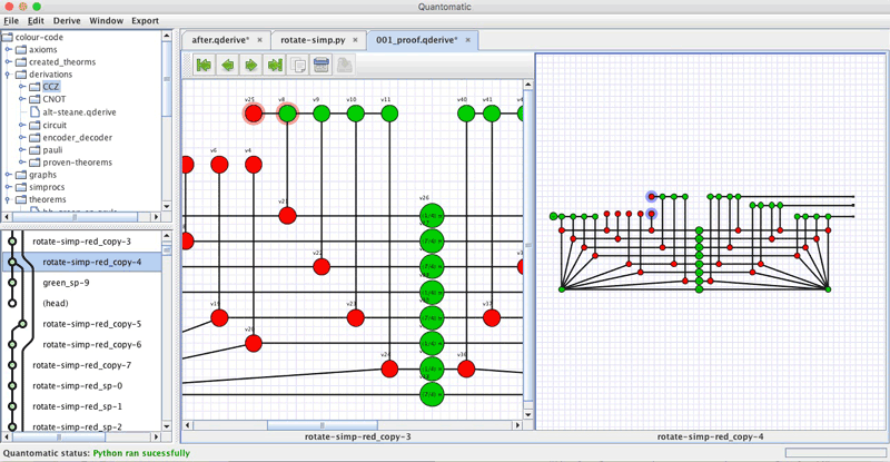 Figure 3: Quantomatic, a proof assistant for diagrammatic reasoning. Here, it is computing a transversal implementation of a CCZ gate within a quantum error correcting code (namely, the [[8,3,2]] colour code; see links [L1] and [L3] for more details).