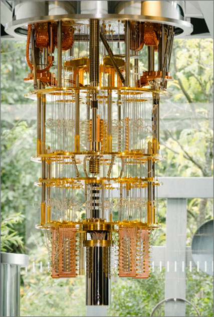 Figure 1: Open cryogenic system for a 50 qubit quantum computing device. The device is hidden inside the shielding tube attached at bottom center. The copper structures to the left and right of the shielding tube contain parametric quantum amplifiers to readout information from the qubits.