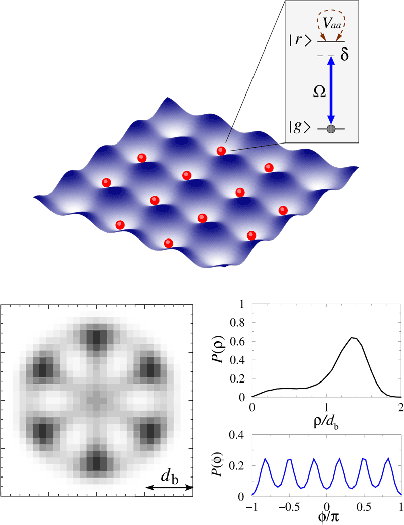 Figure 2: Realising interacting spin lattice models with laser driven atoms.  Upper panel illustrates an optical lattice potential for ground state atoms and laser coupling to the strongly interacting Rydberg state. Lower panel shows spatial configuration of six Rydberg excitations, with the axial P(ρ) and angular P(φ) probability distributions, in a 2D disk shaped lattice of 400 atoms driven by a resonant field.