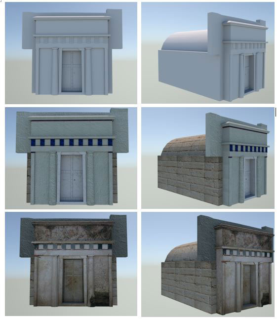 Figure 1: Different versions of the 3D model of the Macedonian tomb using Monte Carlo path-tracing global illumination.