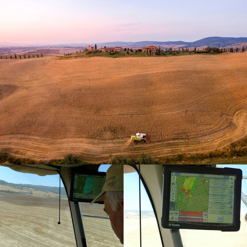Figure 1: Combines equipped with yield monitoring sensors for measuring and recording information such as grain flow and moisture, area covered and location.