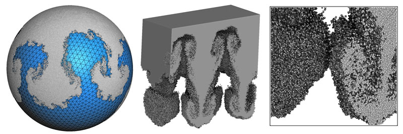 Figure 2: Numerical simulation of Taylor-Rayleigh instability on a sphere (left) and in a 3D volume (right).