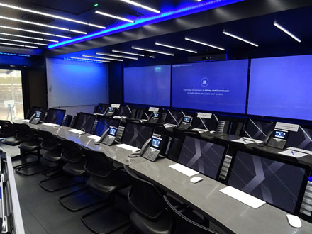 Figure 2: Some of the C-TOC's 20 workstations ready for a security crisis (photo courtesy L. Rudin).