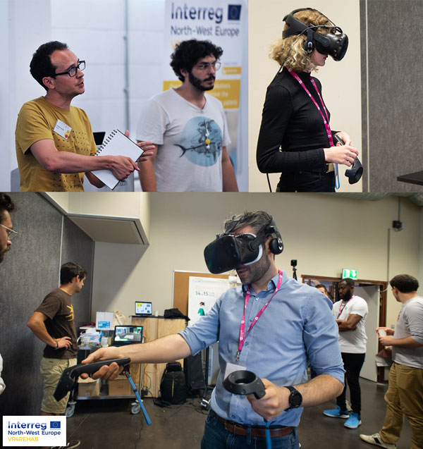 Figure 1: UK Hackathon (4 - 5 July 2018) & French Hackathon (14 - 15 June 2018). Participants of the event experiencing VR tools and pitching their ideas to an international audience.