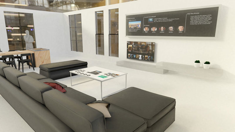 "Figure 1: A photorealistic 3D rendering of the ""Intelligent Livingroom""."