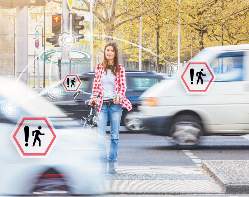 Figure 1: The smart intersection warns cars about the presence of pedestrians. This improves the safety of pedestrians and other vulnerable road users.