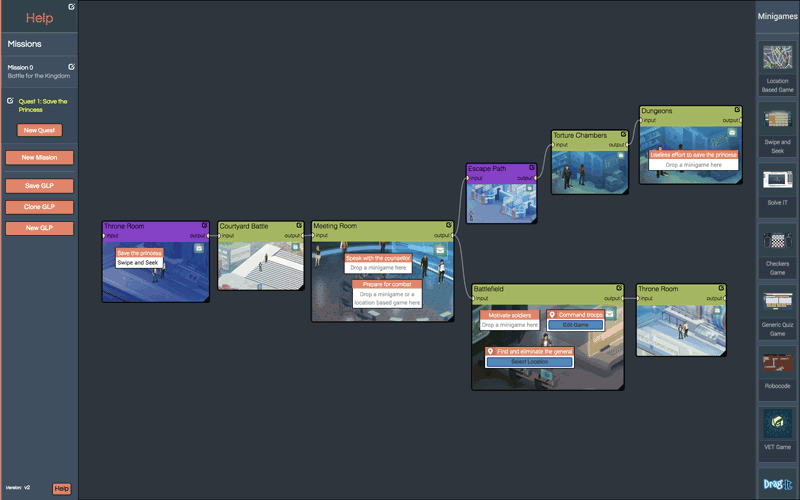 Figure 1: Gamified Lesson Plan with branching activities, viewed in the authoring tool [L2].