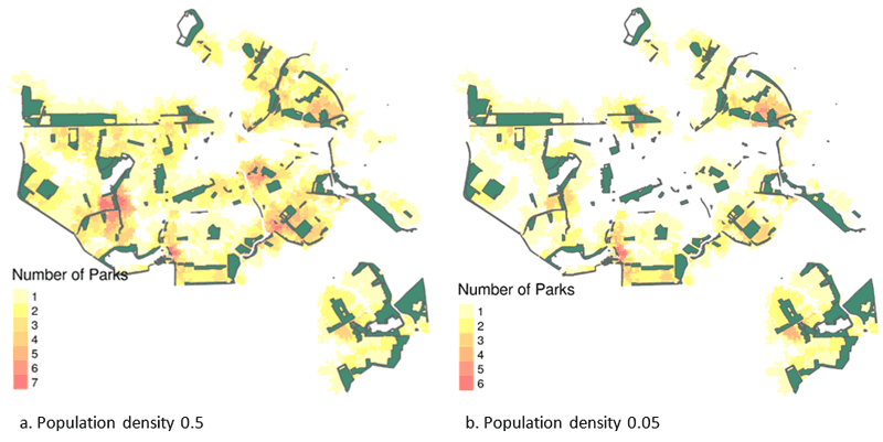 Figure 1: Locations in Amsterdam near a park. The left shows the number of parks within 750m with 2m2 space per person and the right with 20m2 per person. This shows that the inner city has some parks in the immediate surroundings whereas suburbs have multiple parks in close range. However, the parks near the inner city are very busy since they are also used by residents of the suburbs.
