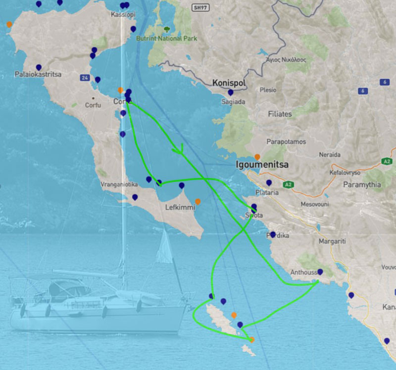 Figure 1: Planning a yachting holiday route is a difficult challenge. A typical 7-day itinerary in the Ionian Sea can be almost any combination between the 35 ports and marinas shown here (Map data © OpenStreetMap, port and marina locations courtesy of http://mykosmos.gr, sample itinerary from http://charter-greece.com)