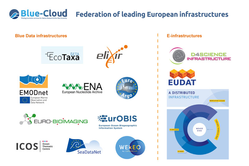 Figure 1: Blue-Cloud Federation of European Infrastructures.