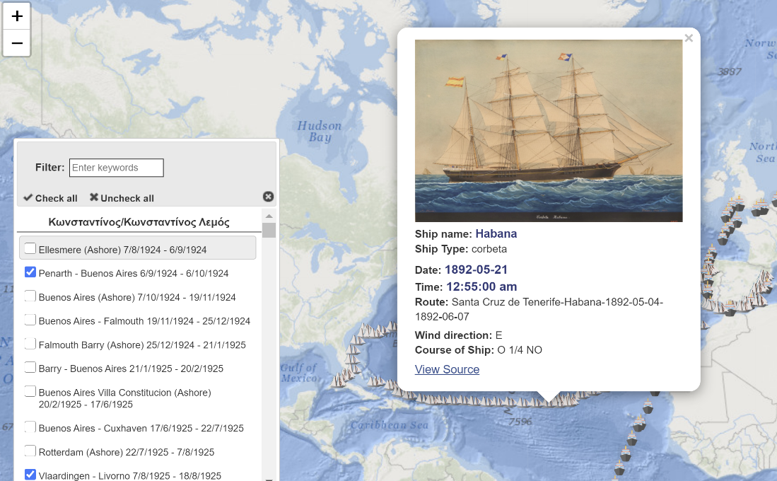 Figure 3: The Ship Voyages map application.