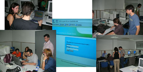 The real-time exercise: demonstrating the interface to the participants.