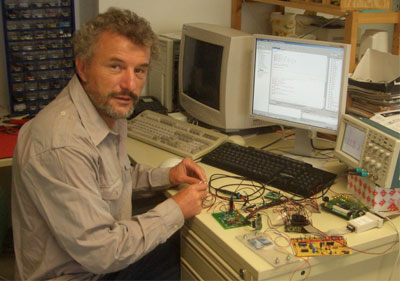 Figure 4: The author working with Piezo-Elements and Embedded System.