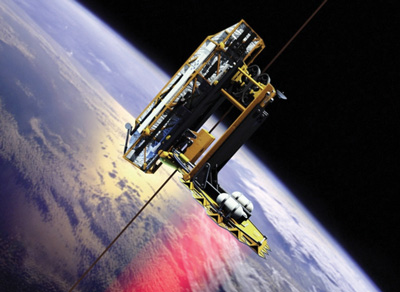 The space elevator concept - climbers ascend a ribbon strung between an anchor on Earth and a counterweight in space (by courtesy of Spaceward foundation).