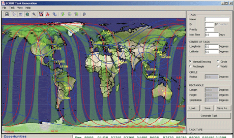 Figure 2: Determining imaging opportunities using the ground coverage of an LEO satellite.