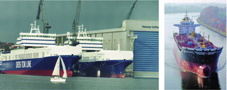 Figure 2: Left: RoRo ferries by Flensburger Schiffbau Gesellschaft; right: Double hull tanker by Lindenau Werft.