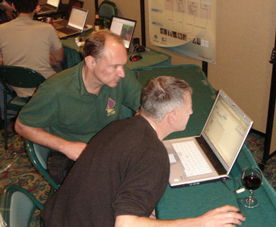 Project leader Guus Schreiber (right) demonstrating the project to Tim Berners-Lee, Director of the World Wide Web Consortium, at ISWC 2006.