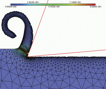 Simulation of orthogonal cutting using standard Abaqus behaviour law.  © Projet GAMMA / UTT