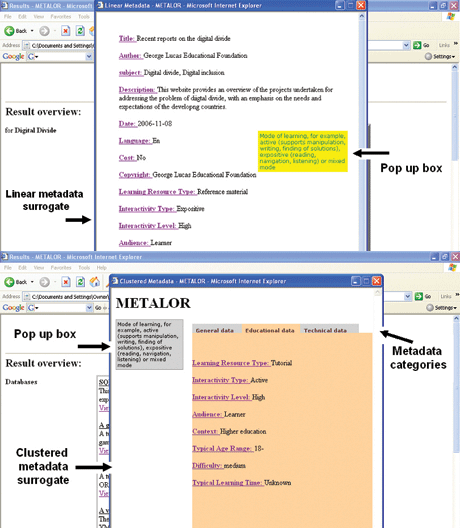 Figure 1: The linear (top) and clustered (bottom) metadata interface.