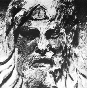Figure 1: Head of a rain god, carved on the Antonina column in Rome. Erosion and crusts have been caused by SO2 pollution.