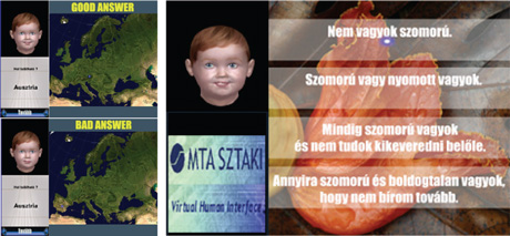 Figure 2: Examples of using the BabyTeach application to teach geography (left), and learning to take multiple-choice tests (right).