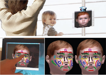 Figure 3: Having fun –  the virtual child reacts with facial mimicking, and its face can even be painted when touched.