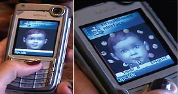 Figure 4: Our virtual child interacting with the user on a mobile phone.