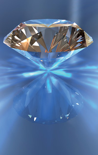 Figure 1: A diamond. With discrete tomography fewer scans are needed to detect flaws, so more of each stone can be retained.  Source: shutterstock