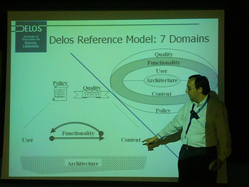 Yannis Ioannidis presenting the DELOS achievements.